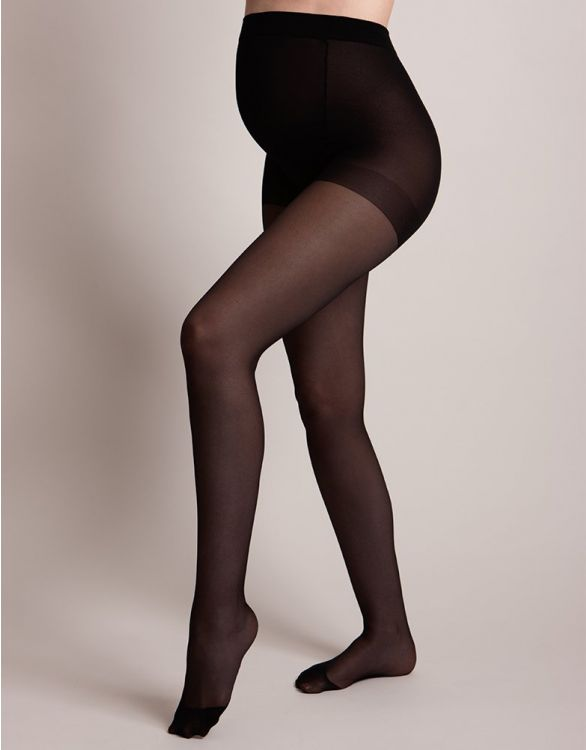 Image for 40 Denier Black Over-Bump Maternity Tights