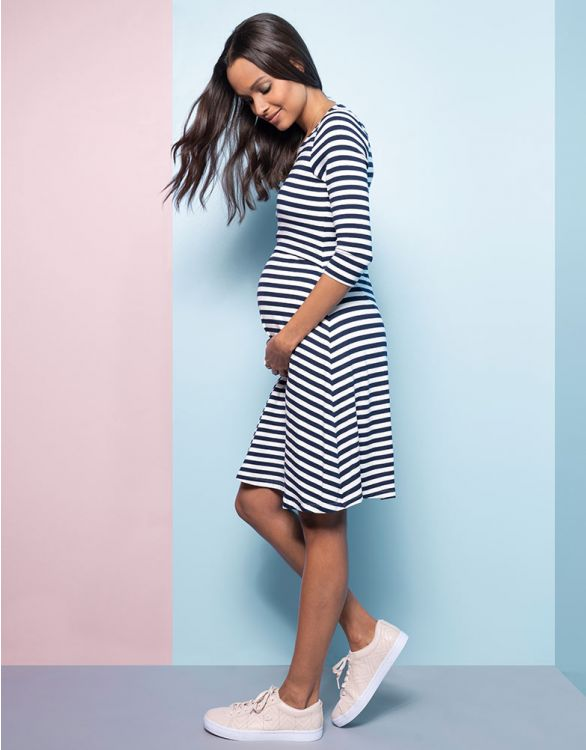 Image for Striped Maternity & Nursing Dress