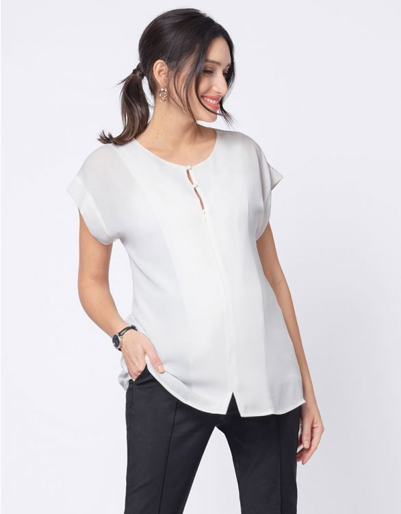 Image for Invisible Zip Ivory Maternity & Nursing Top