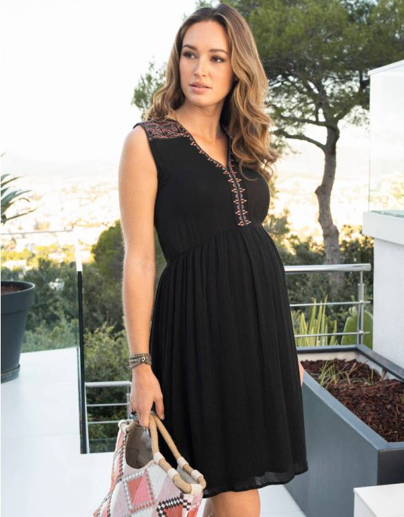 Image for Black Embroidered Maternity & Nursing Dress