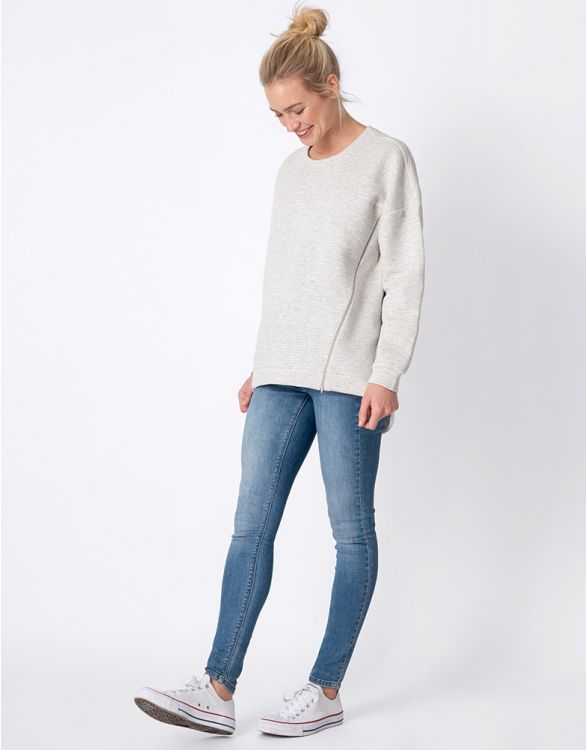 Image for Cotton Blend Textured Maternity & Nursing Sweatshirt