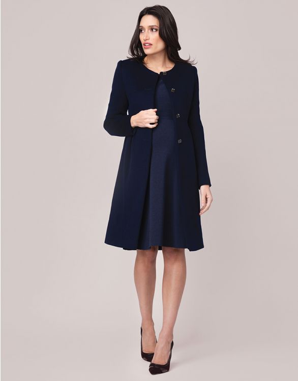 Image for Navy Blue Cashmere Blend Maternity Coat