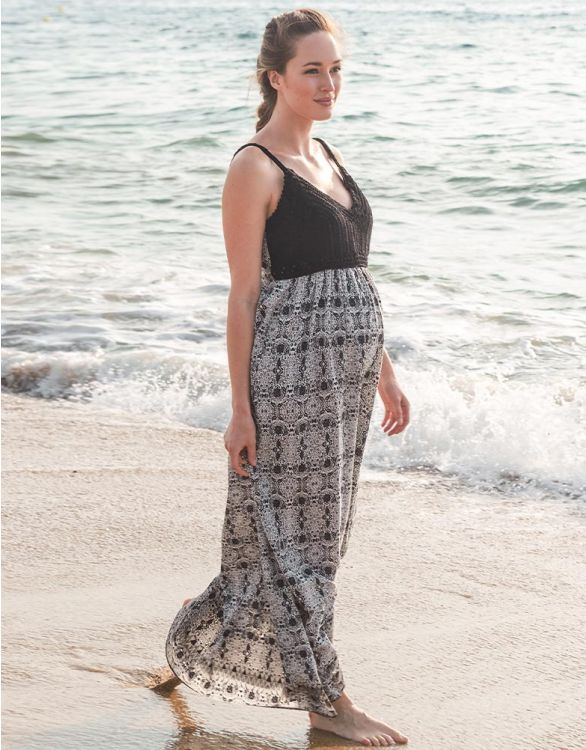 Image for Black Crochet Top Maternity Maxi Dress