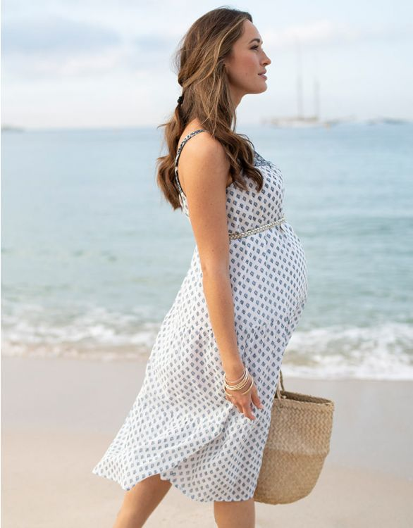 Image for Cotton Maternity Midi Dress