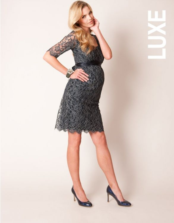 Image for Navy Blue Lace Maternity Dress
