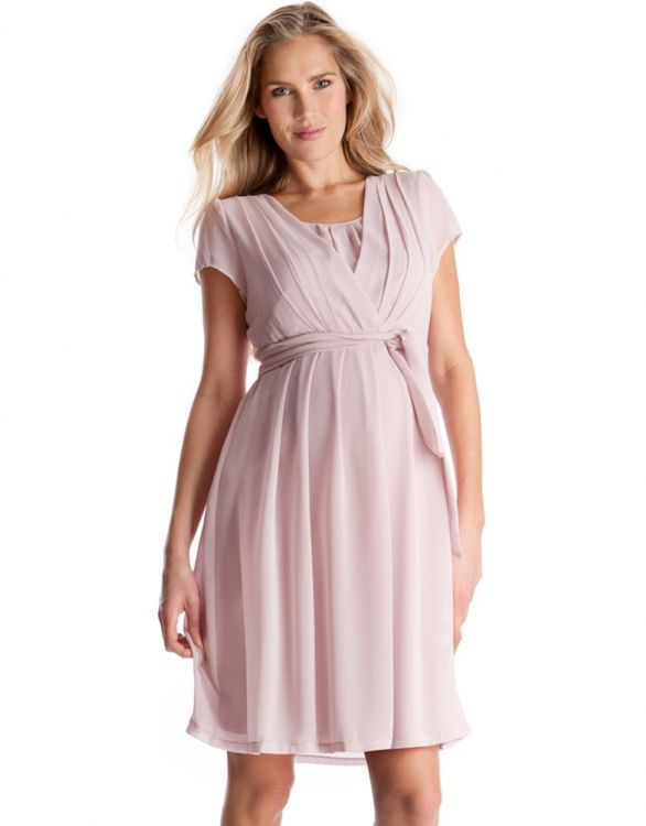 Image for Blush Pink Pleated Maternity & Nursing Dress