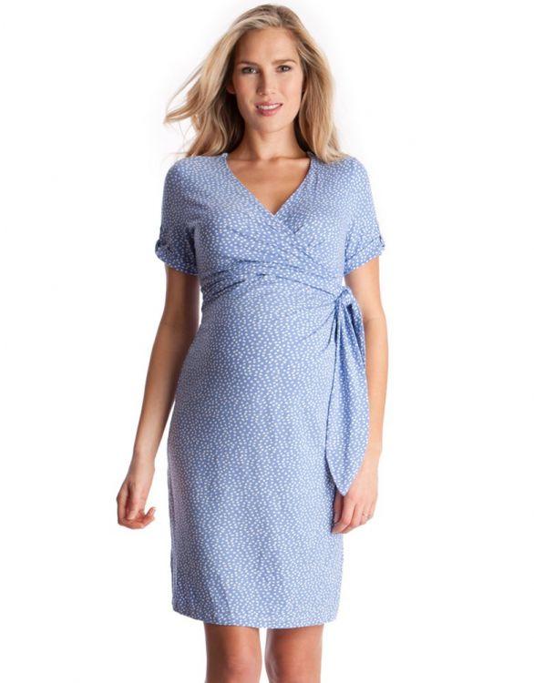 Image pour Robe grossesse bleu ciel à pois blancs