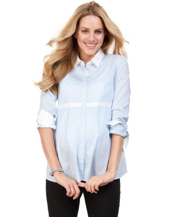 Image for Striped Stretch Cotton Maternity Shirt
