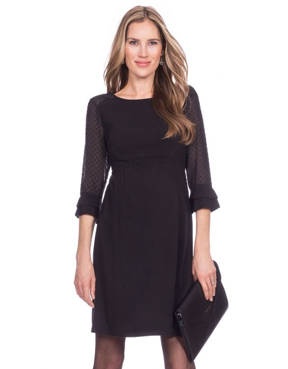 Image for Sheer Dot Black Maternity Dress