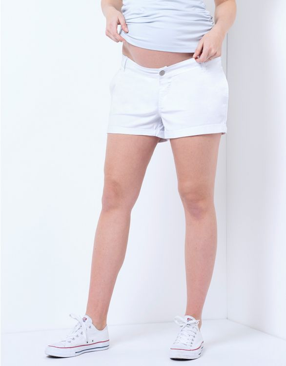 Image for White Cotton Maternity Shorts