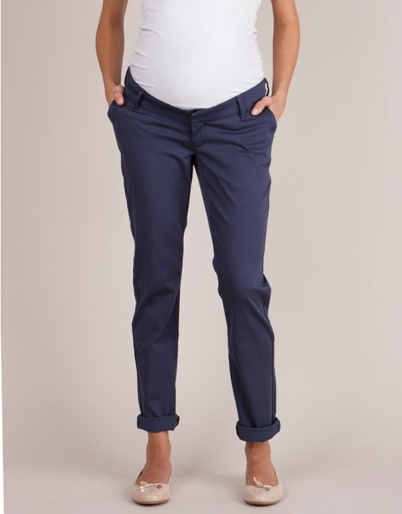 Image for Navy Blue Over Bump Maternity Chinos