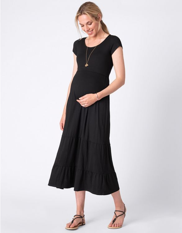 Image for Midi Black Maternity & Nursing Dress