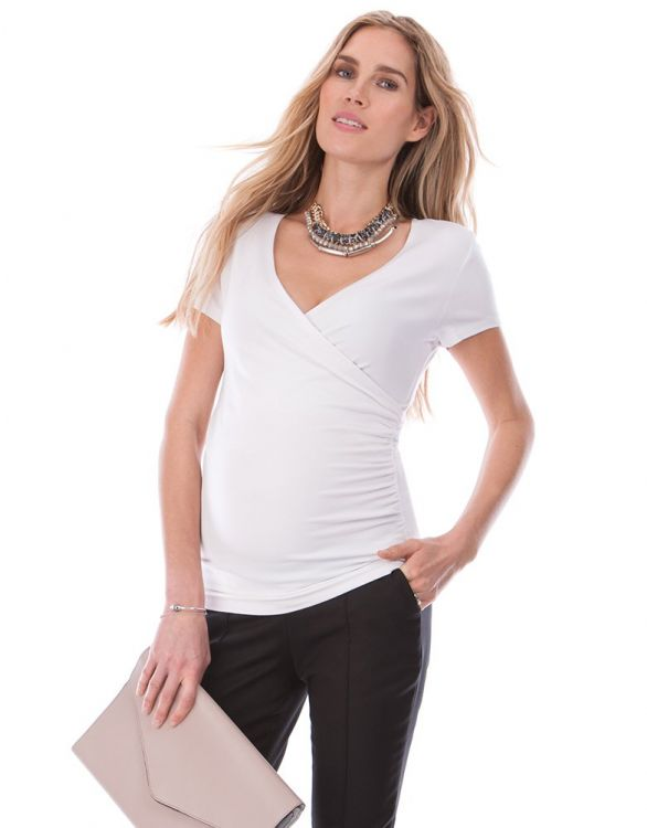 Image for White Mock Wrap Maternity & Nursing Top