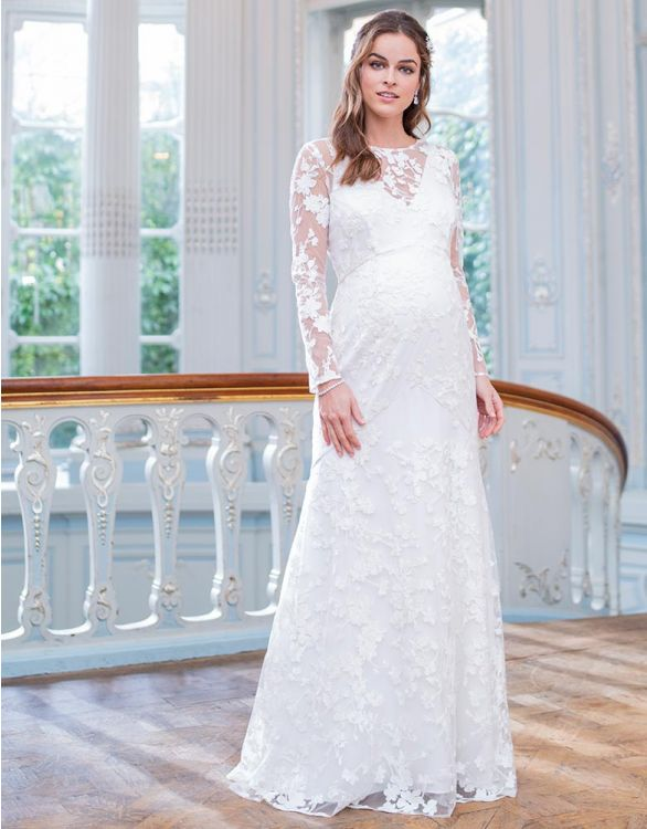 Image for Long Sleeve Lace Maternity Wedding Dress
