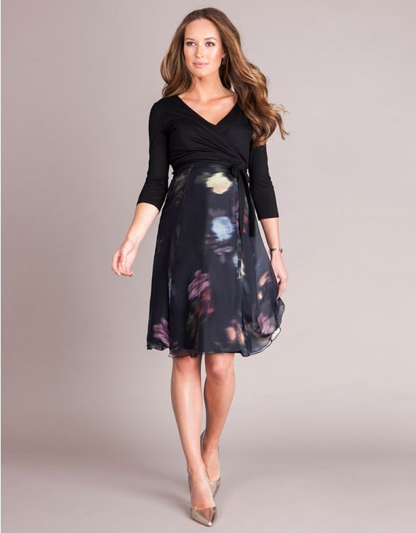 Image for Black Floral Silk Wrap Maternity Dress