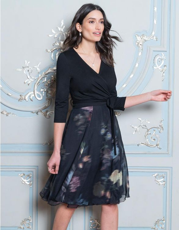 Image for Black Floral Wrap Maternity & Nursing Dress
