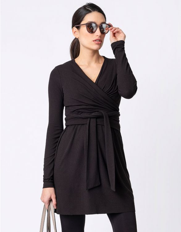 Image for Black Ribbed Maternity & Nursing Tunic