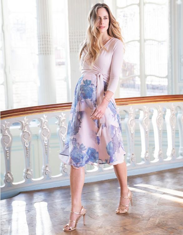 Image for Pastel Floral Wrap Maternity & Nursing Midi Dress