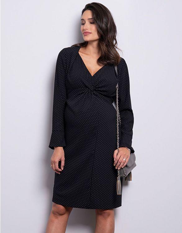 Image pour Robe grossesse nouée noire à pois