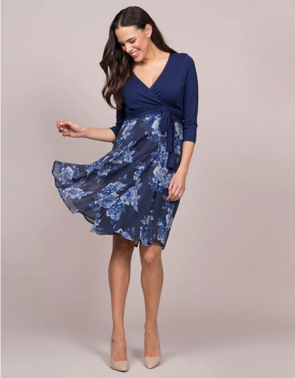 Image for Navy Blue Floral Wrap Maternity & Nursing Dress