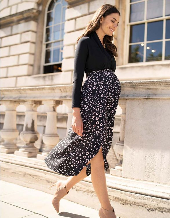 Image for Animal Print Maternity Midi Skirt