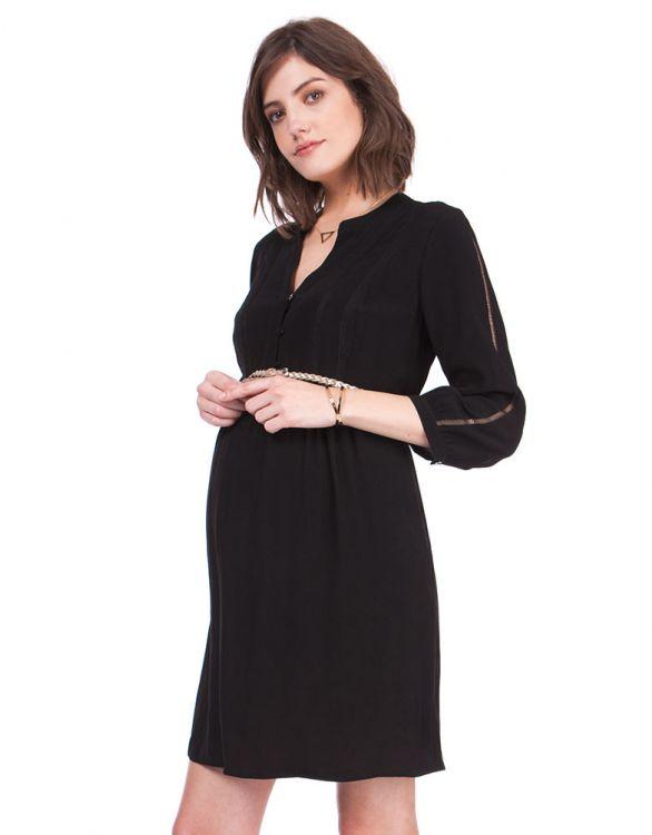 Image for Woven Black Maternity & Nursing Dress
