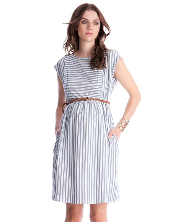 Image for Cotton Stripe Maternity & Nursing Dress
