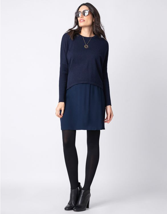 Image for Navy Blue Maternity & Nursing Tunic Dress