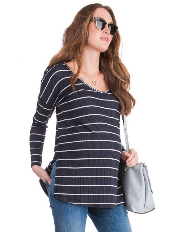 Image for Striped Ribbed Maternity & Nursing Top