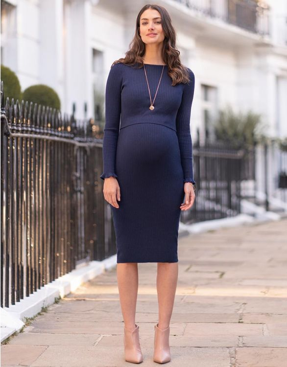 Image for Navy Blue Ribbed Maternity & Nursing Midi Dress