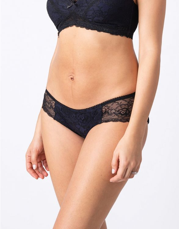 Image for Seraphine Navy Blue Lace Maternity Briefs