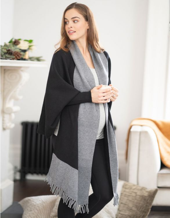 Image for Luxury Black Maternity & Nursing Shawl