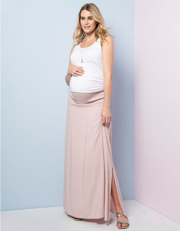 Image for Blush Pink Maternity Maxi Skirt