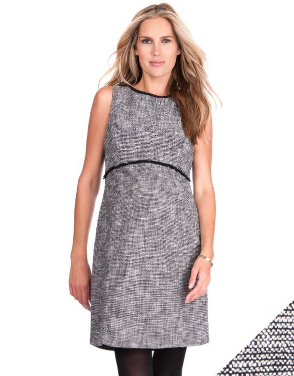 Image for Black Woven Boucle Maternity Shift Dress