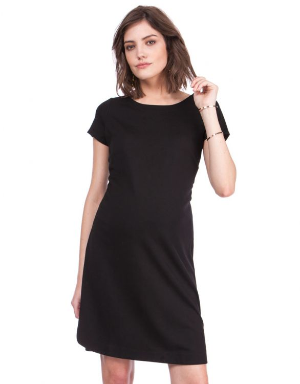 Image for Classic Black Shift Maternity Dress