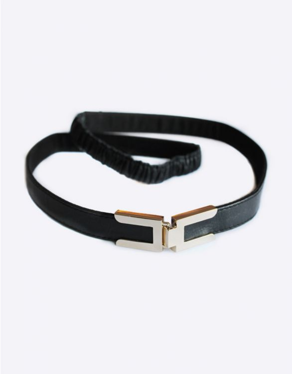 Image for Black Leather Metal Clasp Maternity Belt
