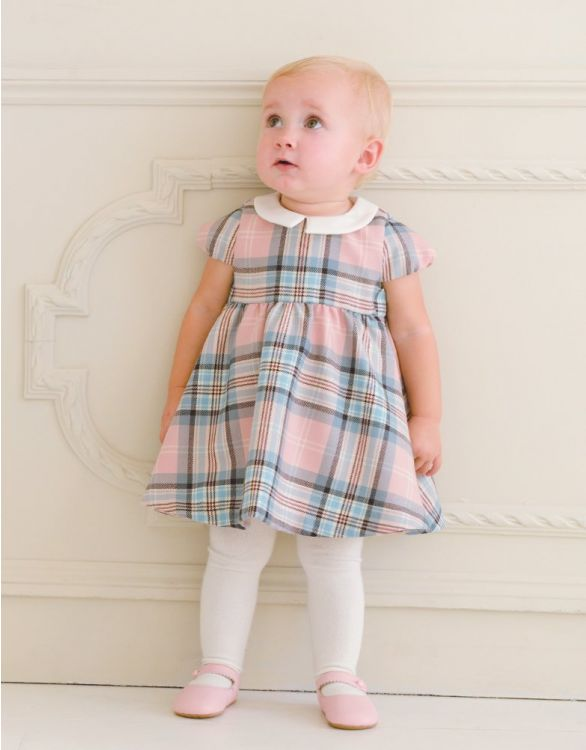 Image for Pink Tartan Woollen Baby Dress