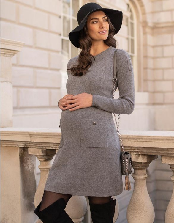 Image for Knitted Maternity & Nursing Dress with Pockets