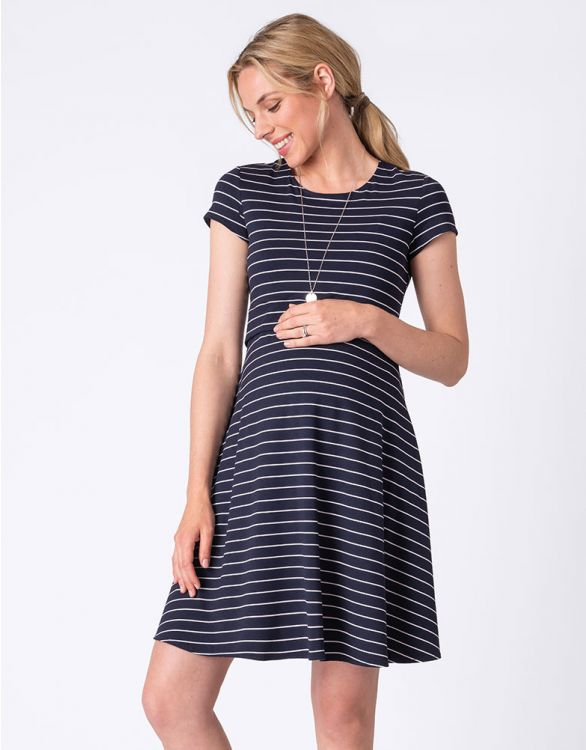Image for Striped Cap Sleeve Maternity & Nursing Dress