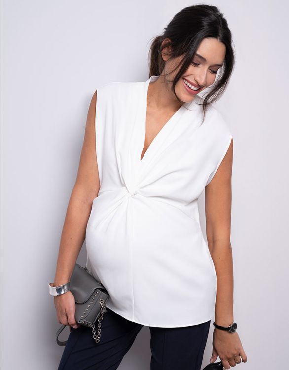 Image for Cream Twist Short Sleeve Maternity Blouse