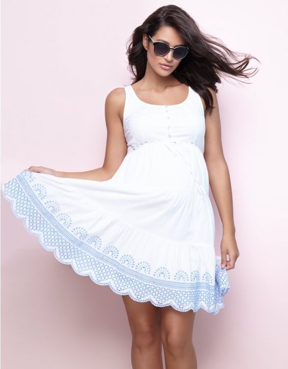 Image for White Cotton Embroidered Maternity Sundress