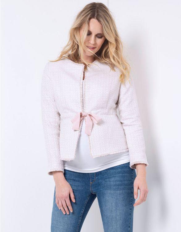 Image pour Veste grossesse en tweed – Rose pâle