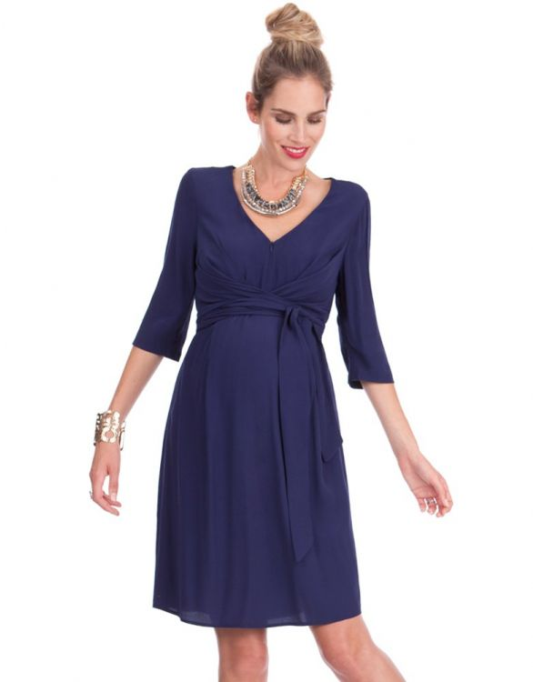 Image for Ink Blue Woven Maternity & Nursing Dress