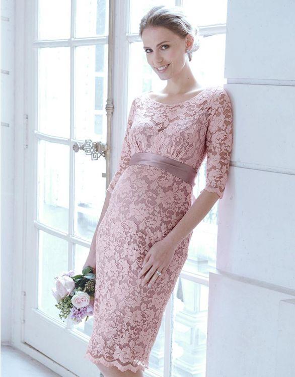 Image pour Robe de cocktail grossesse dentelle - Rose pâle