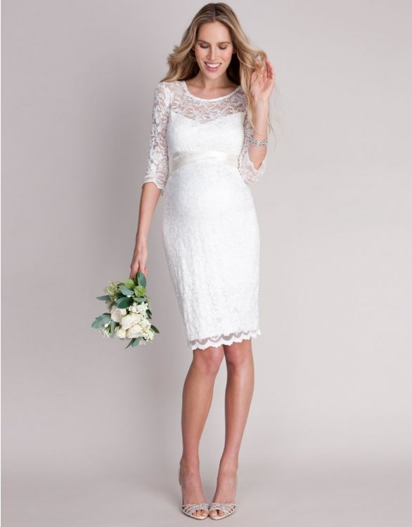 Image for Ivory Lace Maternity Cocktail Dress