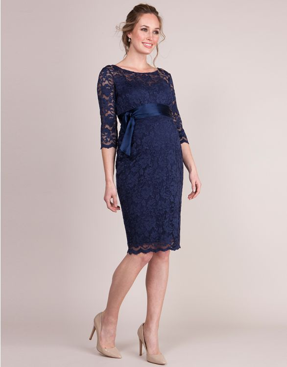 Image for Navy Blue Lace Maternity Cocktail Dress