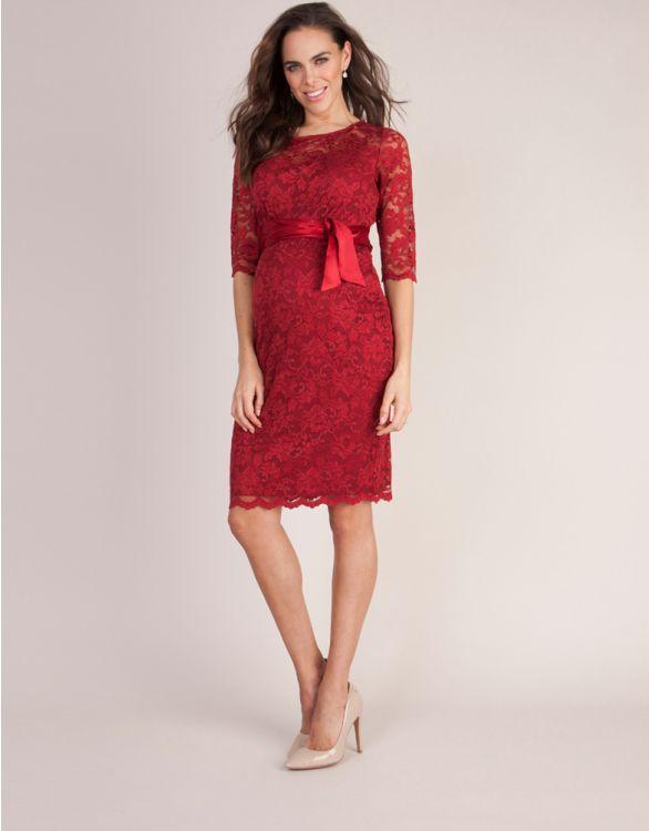 Image pour Robe de cocktail grossesse dentelle - Rouge