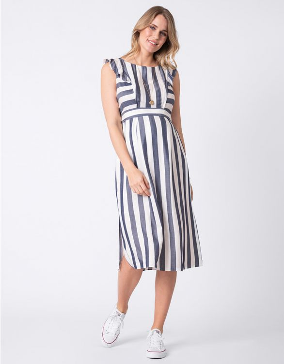 Image for Striped Maternity & Nursing Midi Dress