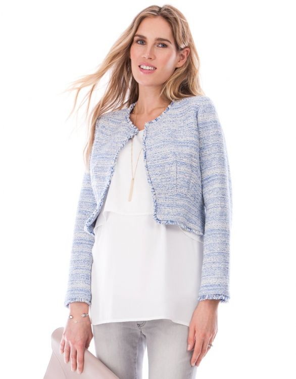 Image for Sky Blue Bouclé Cropped Maternity Jacket