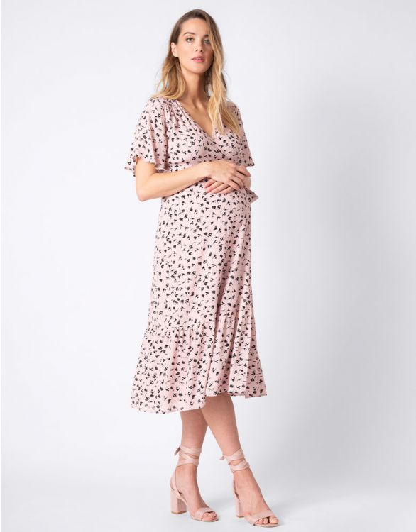 Image for Blush Pink Midi Wrap Maternity Dress